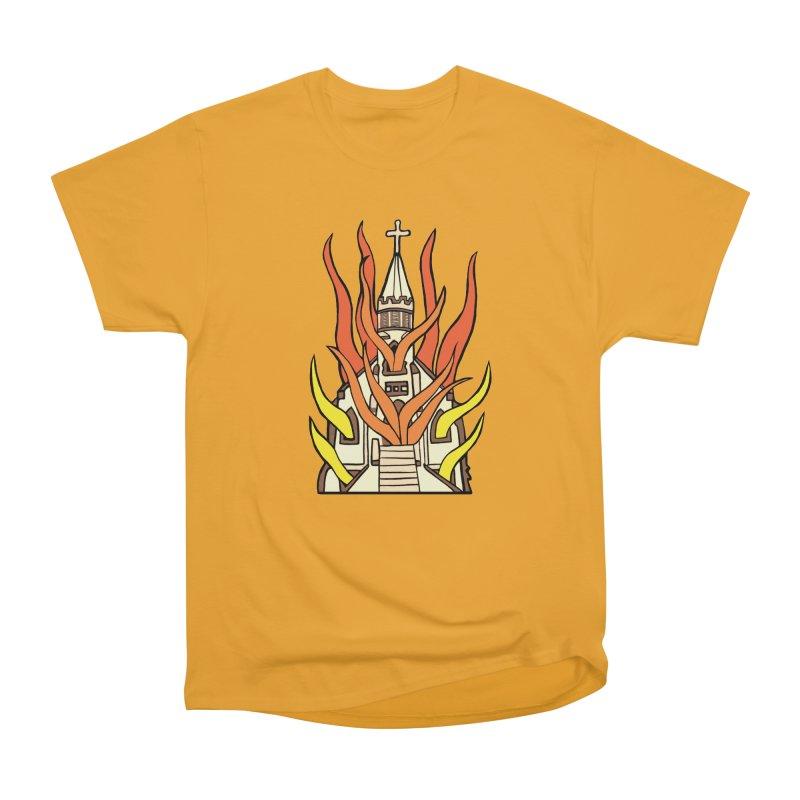 BURNING CHURCH Men's Heavyweight T-Shirt by Hate Baby Comix Artist Shop