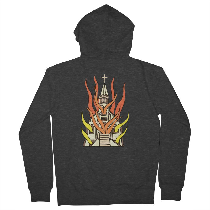 BURNING CHURCH Men's French Terry Zip-Up Hoody by Hate Baby Comix Artist Shop