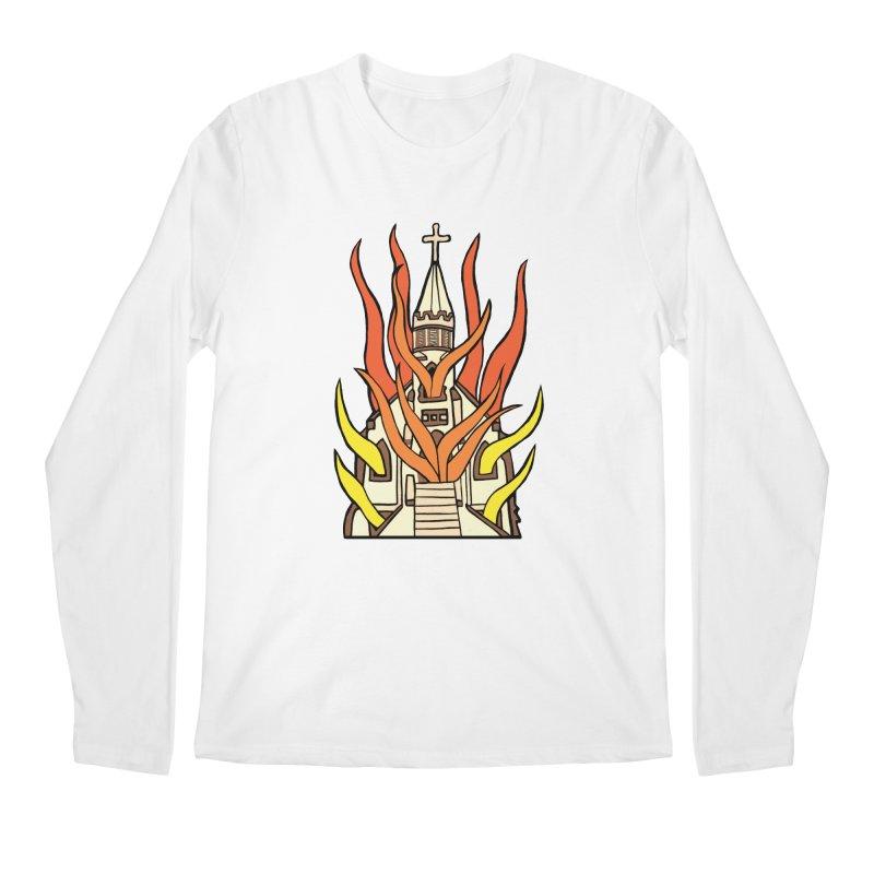 BURNING CHURCH Men's Regular Longsleeve T-Shirt by Hate Baby Comix Artist Shop