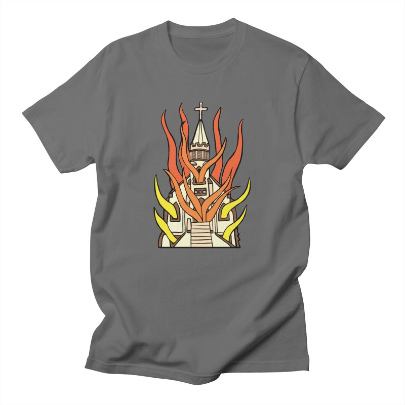 BURNING CHURCH Men's T-Shirt by Hate Baby Comix Artist Shop