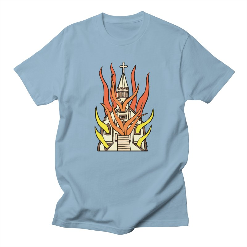 BURNING CHURCH Women's Regular Unisex T-Shirt by Hate Baby Comix Artist Shop