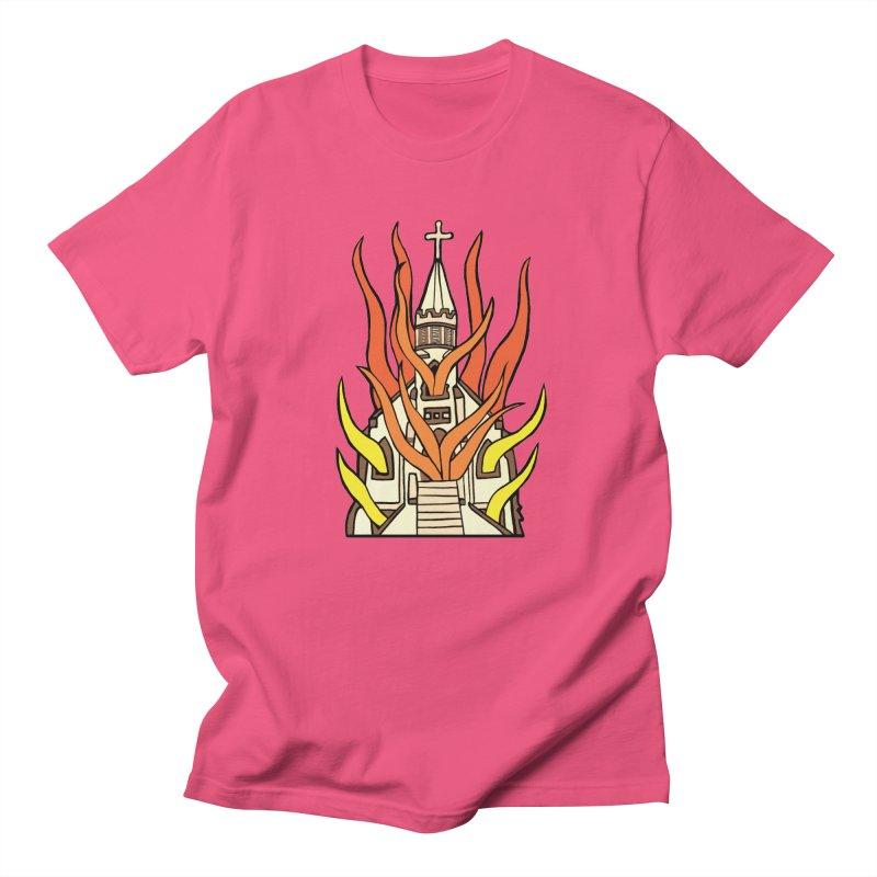 BURNING CHURCH Men's Regular T-Shirt by Hate Baby Comix Artist Shop