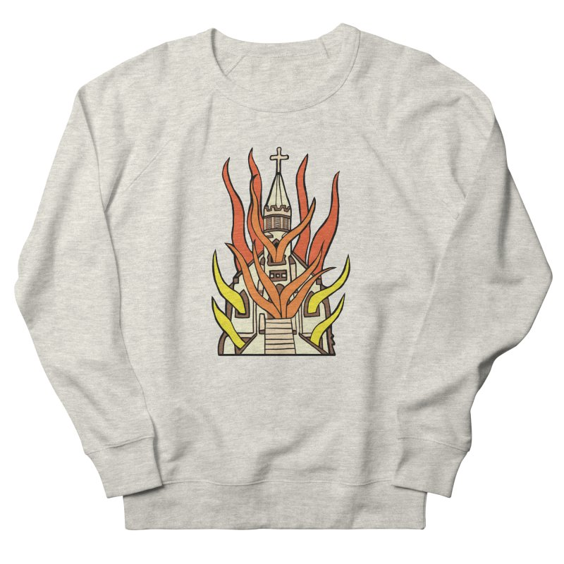 BURNING CHURCH Women's French Terry Sweatshirt by Hate Baby Comix Artist Shop