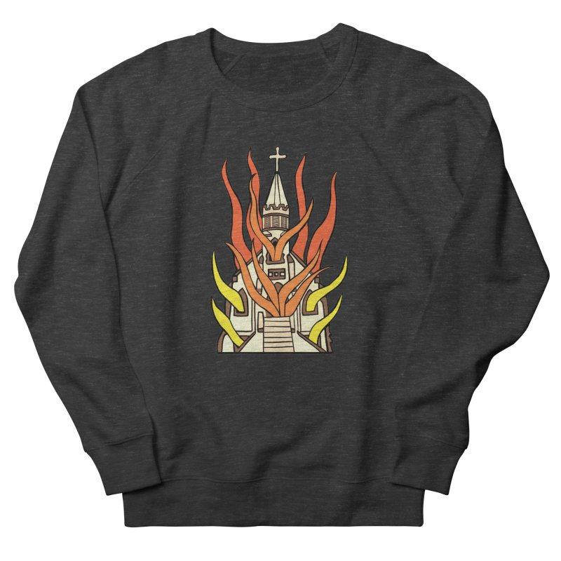 BURNING CHURCH Men's French Terry Sweatshirt by Hate Baby Comix Artist Shop