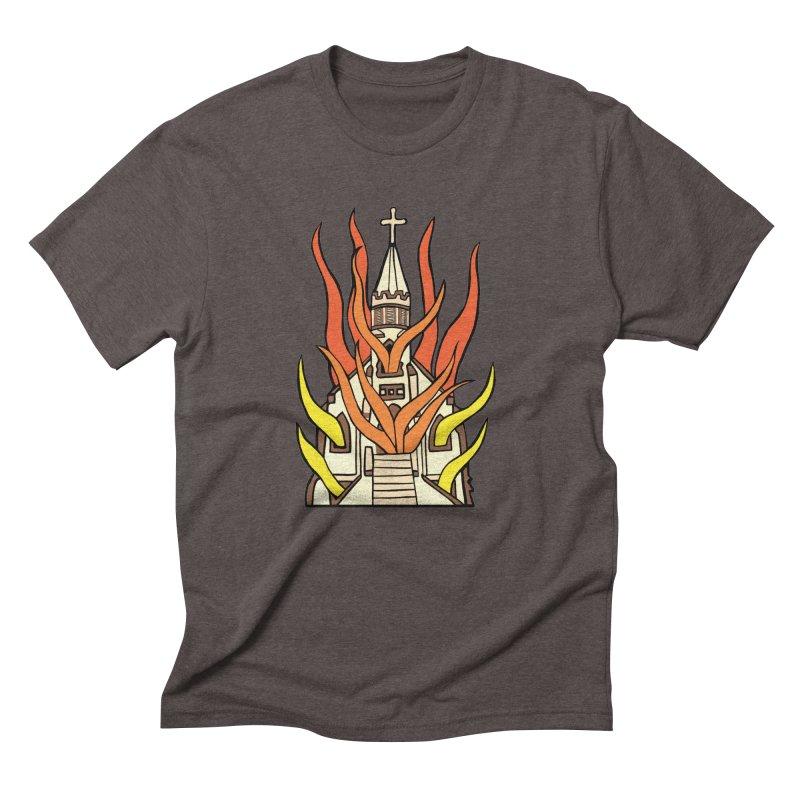 BURNING CHURCH Men's Triblend T-Shirt by Hate Baby Comix Artist Shop
