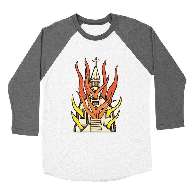 BURNING CHURCH Women's Baseball Triblend Longsleeve T-Shirt by Hate Baby Comix Artist Shop