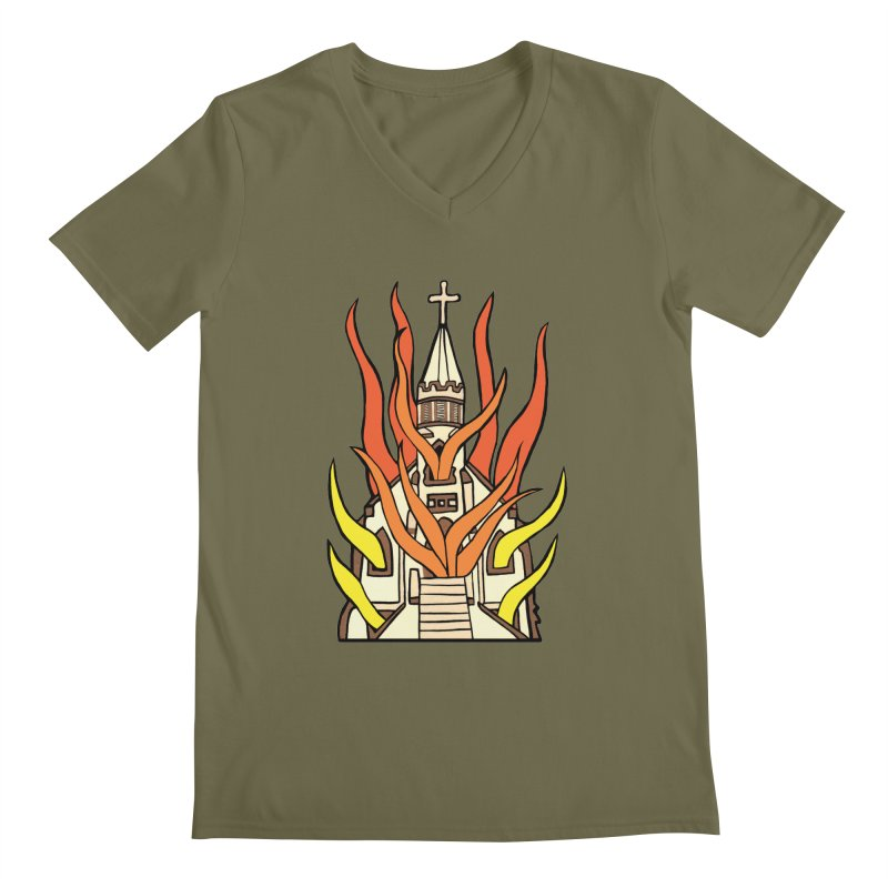 BURNING CHURCH Men's Regular V-Neck by Hate Baby Comix Artist Shop