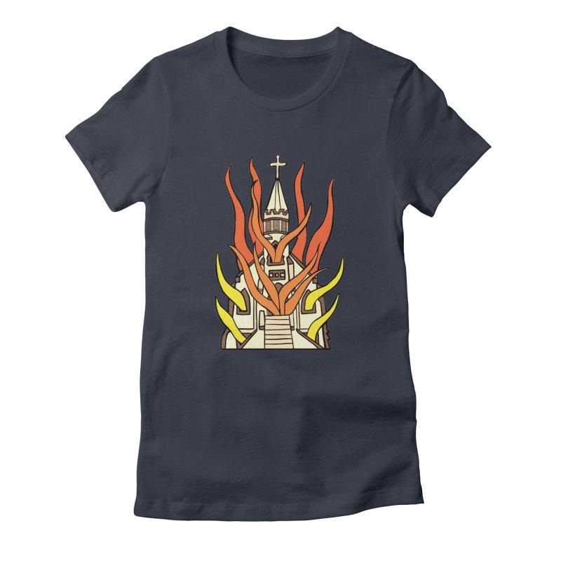 BURNING CHURCH Women's T-Shirt by Hate Baby Comix Artist Shop