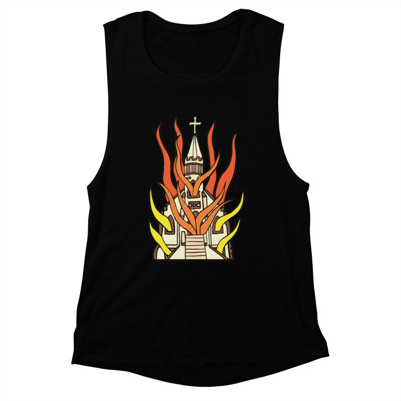BURNING CHURCH Women's Muscle Tank by Hate Baby Comix Artist Shop