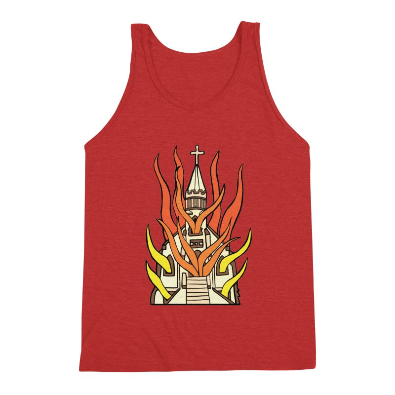 BURNING CHURCH Men's Triblend Tank by Hate Baby Comix Artist Shop