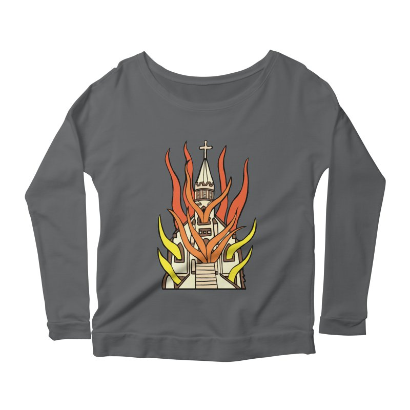 BURNING CHURCH Women's Scoop Neck Longsleeve T-Shirt by Hate Baby Comix Artist Shop