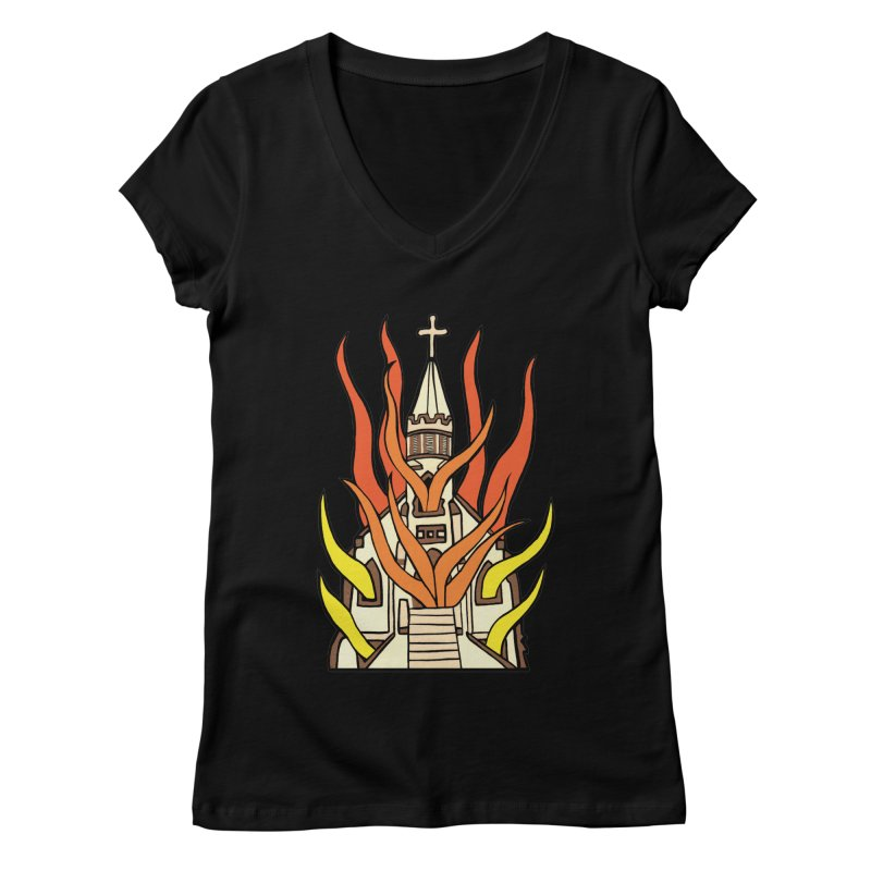 BURNING CHURCH Women's V-Neck by Hate Baby Comix Artist Shop