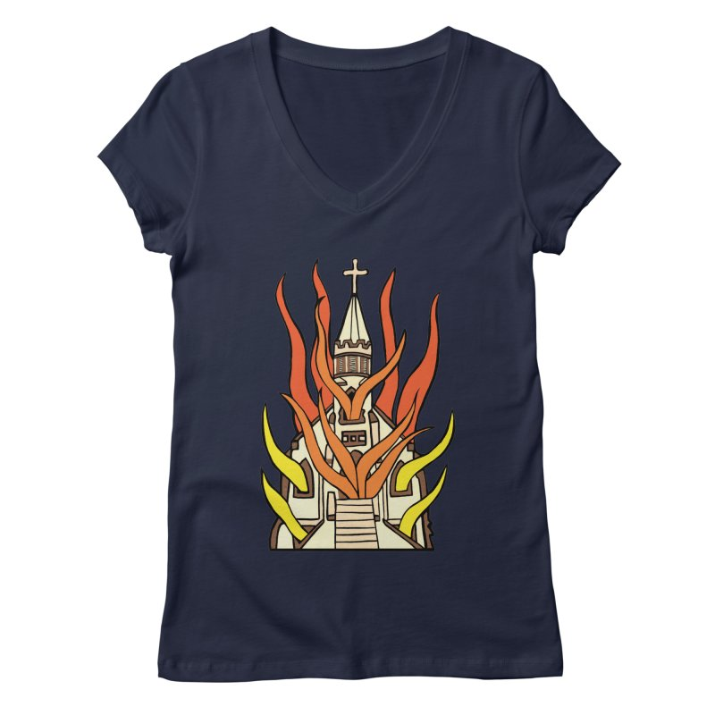 BURNING CHURCH Women's Regular V-Neck by Hate Baby Comix Artist Shop