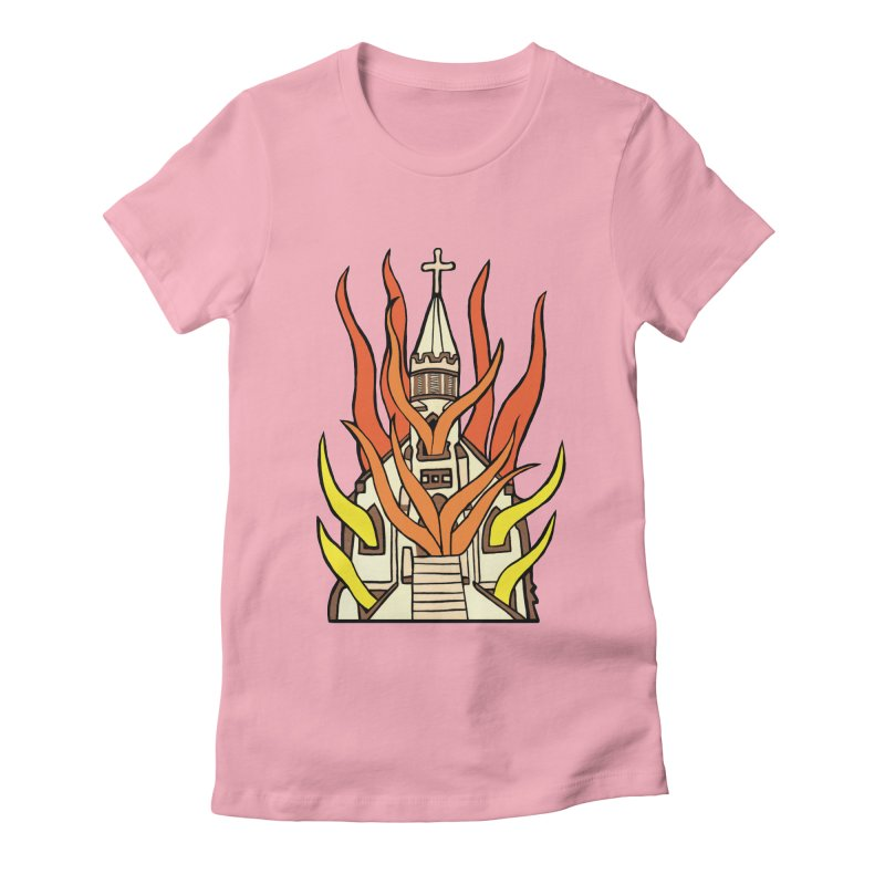 BURNING CHURCH Women's Fitted T-Shirt by Hate Baby Comix Artist Shop