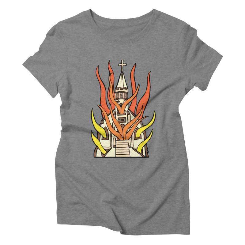 BURNING CHURCH Women's Triblend T-Shirt by Hate Baby Comix Artist Shop