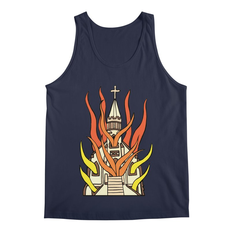 BURNING CHURCH Men's Regular Tank by Hate Baby Comix Artist Shop