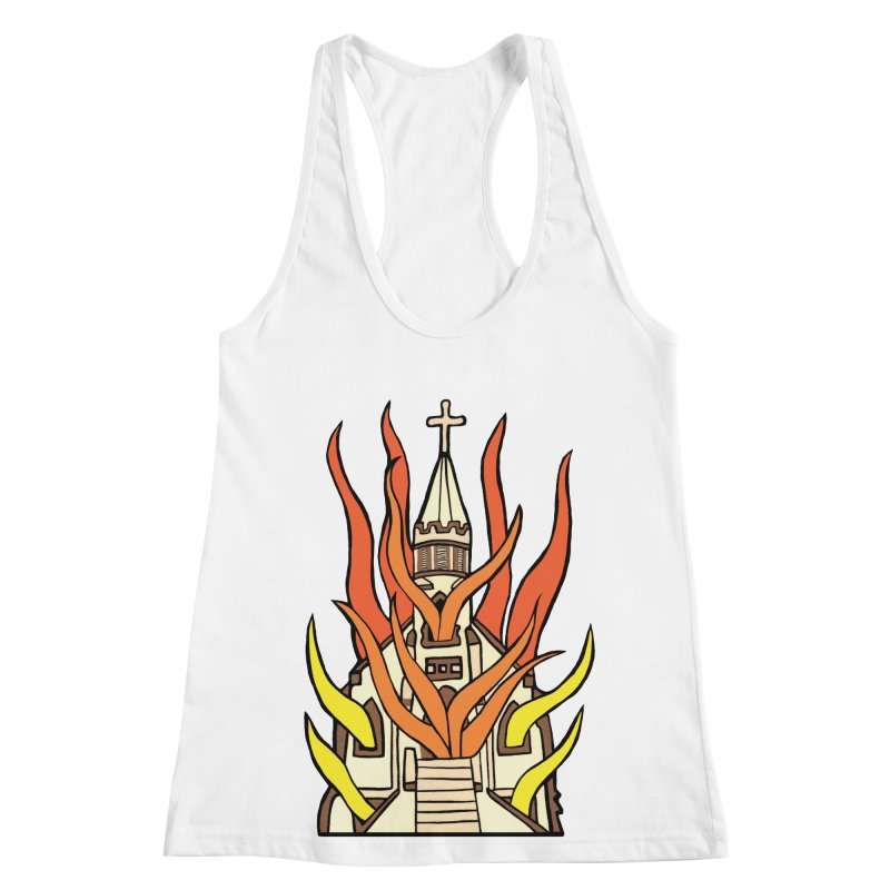 BURNING CHURCH Women's Racerback Tank by Hate Baby Comix Artist Shop