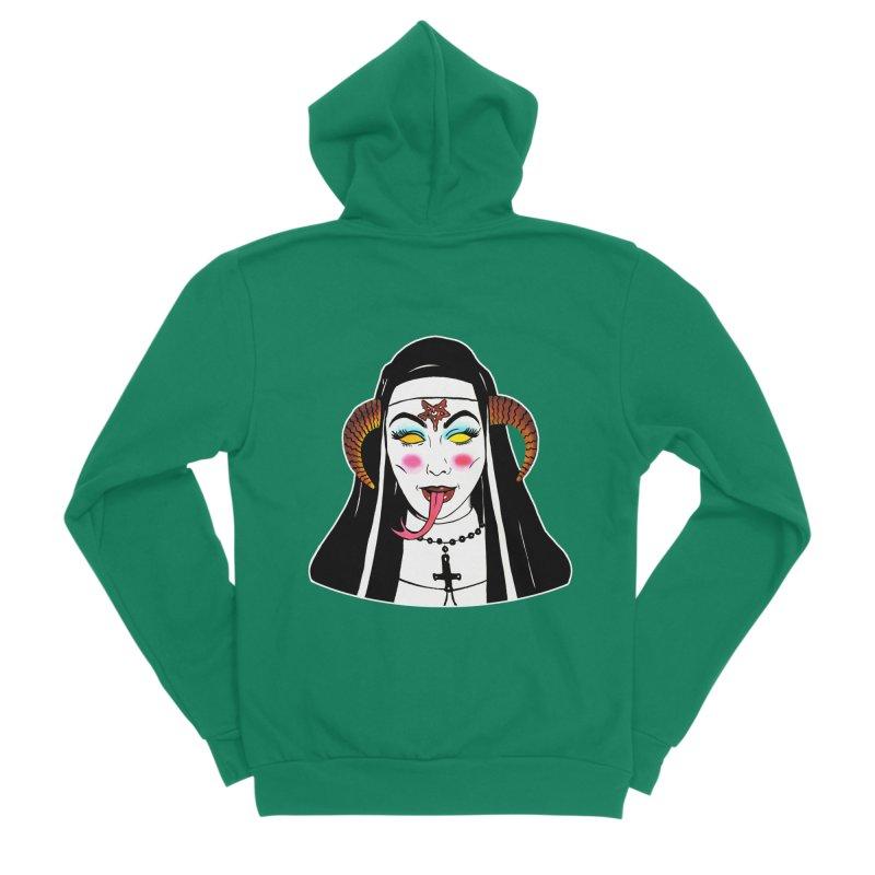 DEMON NUN Women's Sponge Fleece Zip-Up Hoody by Hate Baby Comix Artist Shop