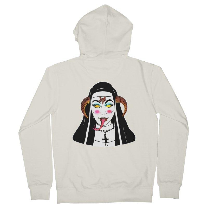 DEMON NUN Women's French Terry Zip-Up Hoody by Hate Baby Comix Artist Shop