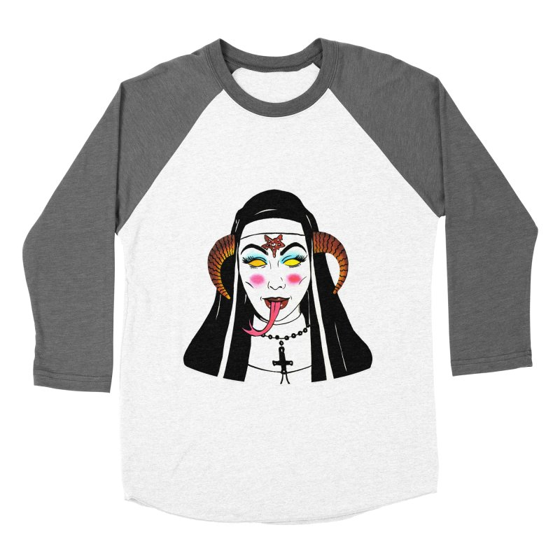 DEMON NUN Women's Baseball Triblend Longsleeve T-Shirt by Hate Baby Comix Artist Shop