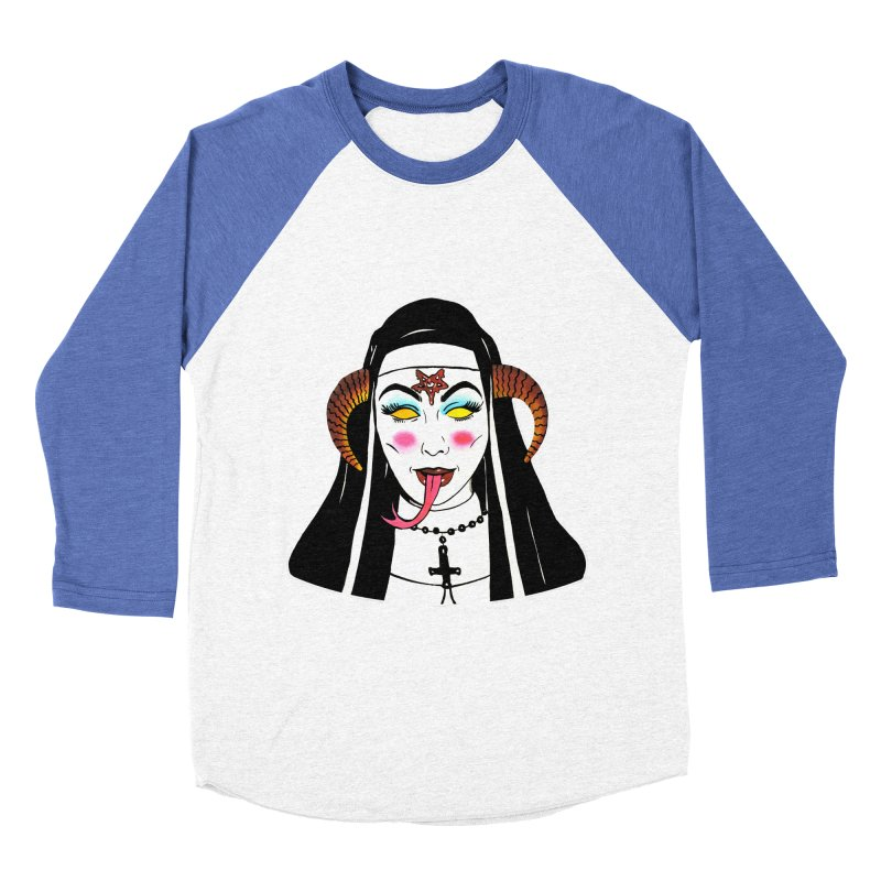 DEMON NUN Men's Baseball Triblend Longsleeve T-Shirt by Hate Baby Comix Artist Shop
