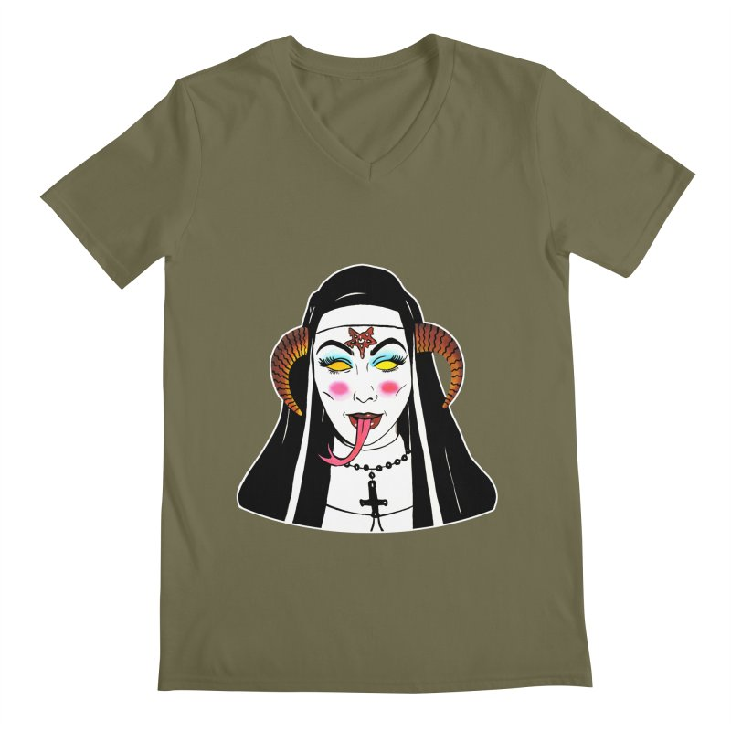 DEMON NUN Men's Regular V-Neck by Hate Baby Comix Artist Shop