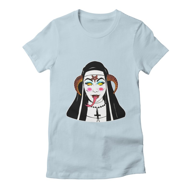 DEMON NUN Women's Fitted T-Shirt by Hate Baby Comix Artist Shop