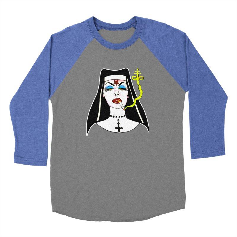 SMOKING NUN Men's Baseball Triblend Longsleeve T-Shirt by Hate Baby Comix Artist Shop