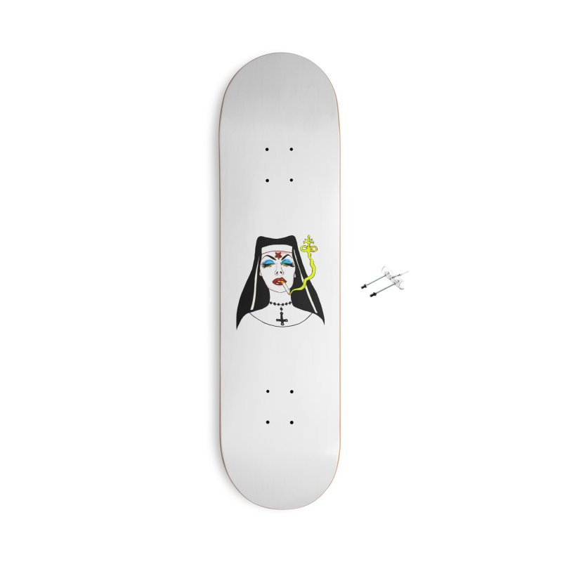 SMOKING NUN Accessories With Hanging Hardware Skateboard by Hate Baby Comix Artist Shop