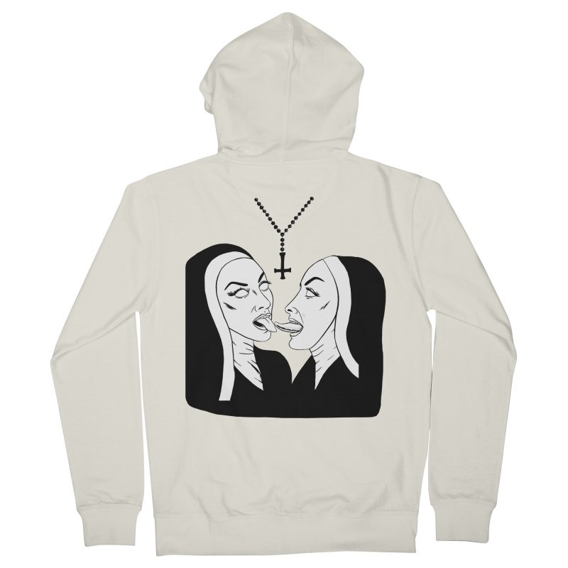 Tonguing Nuns Women's French Terry Zip-Up Hoody by Hate Baby Comix Artist Shop