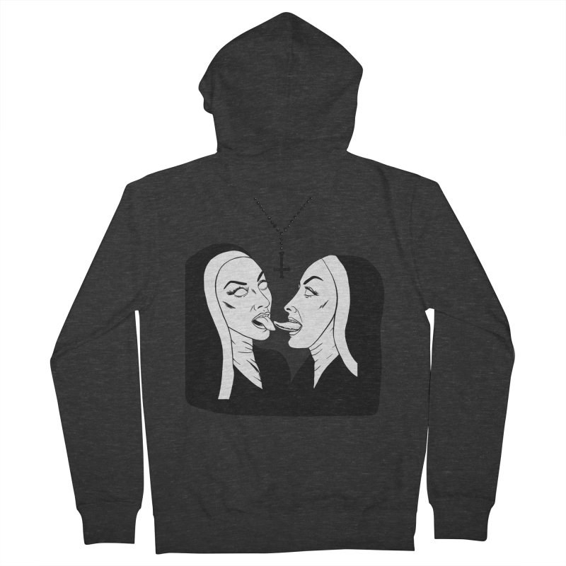 Tonguing Nuns Men's French Terry Zip-Up Hoody by Hate Baby Comix Artist Shop