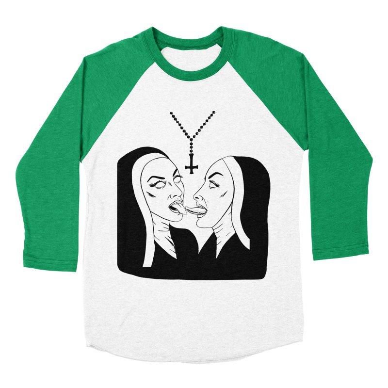 Tonguing Nuns Men's Baseball Triblend Longsleeve T-Shirt by Hate Baby Artist Shop