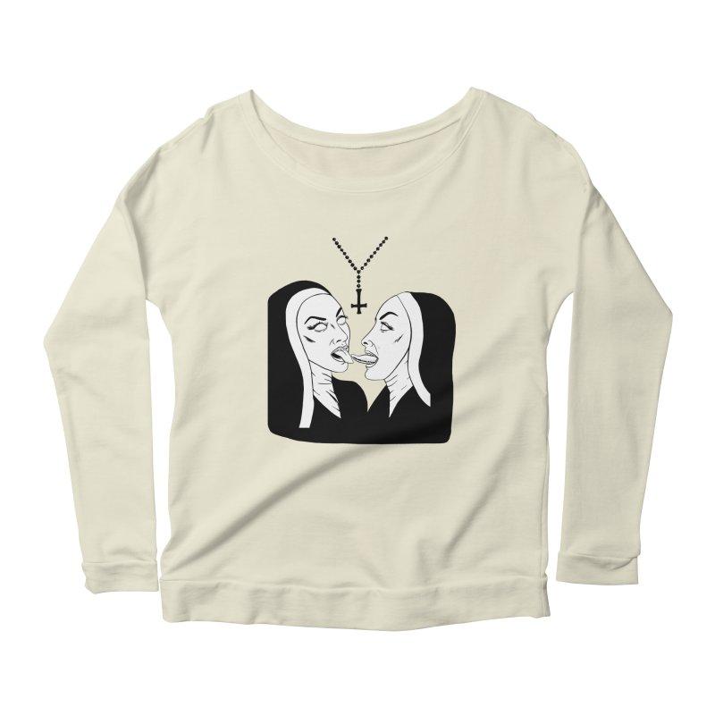 Tonguing Nuns Women's Scoop Neck Longsleeve T-Shirt by Hate Baby Comix Artist Shop