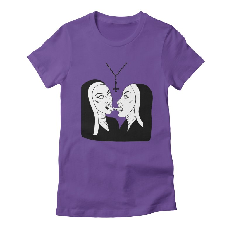 Tonguing Nuns Women's Fitted T-Shirt by Hate Baby Comix Artist Shop