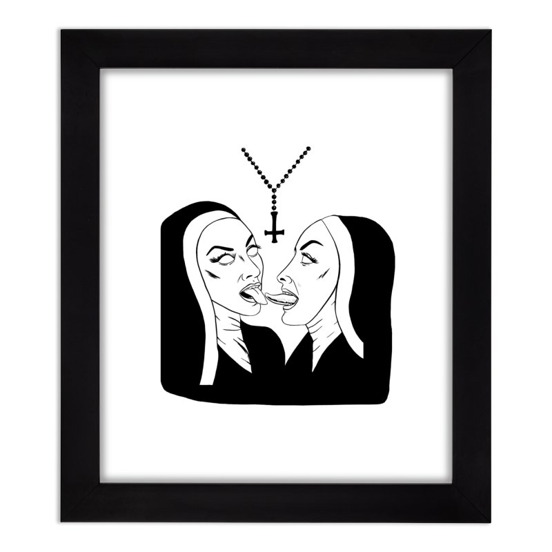 TONGUING NUNS Home Framed Fine Art Print by Hate Baby Comix Artist Shop