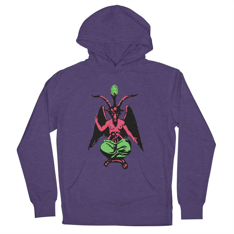 Blacklight Baphomet  Men's French Terry Pullover Hoody by Hate Baby Artist Shop