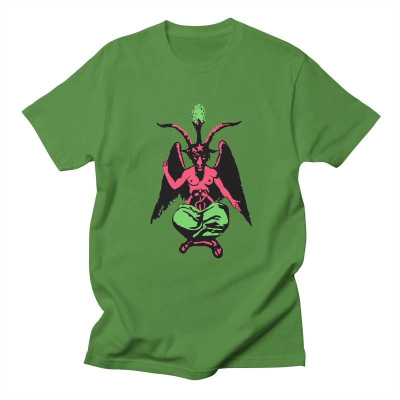 Blacklight Baphomet  Men's Regular T-Shirt by Hate Baby Artist Shop