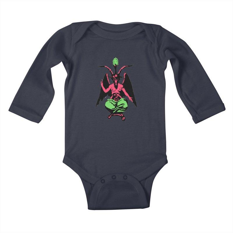 BLACKLIGHT BAPHOMET Kids Baby Longsleeve Bodysuit by Hate Baby Comix Artist Shop