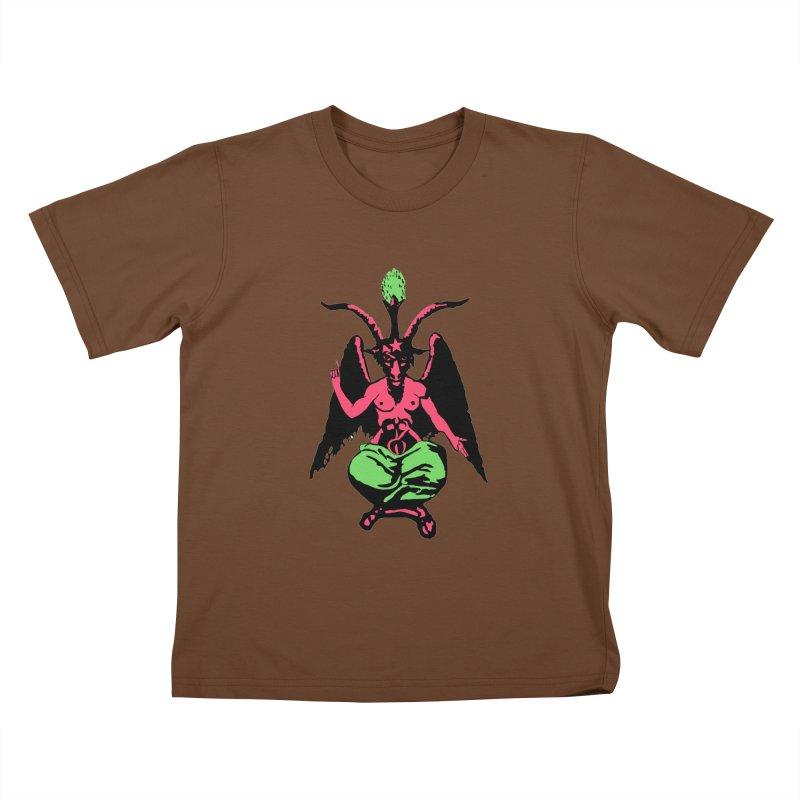 Blacklight Baphomet  Kids T-Shirt by Hate Baby Artist Shop