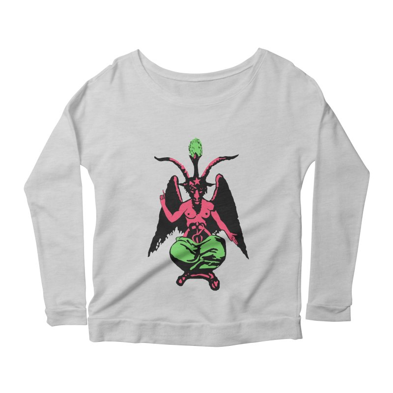 Blacklight Baphomet  Women's Scoop Neck Longsleeve T-Shirt by Hate Baby Artist Shop