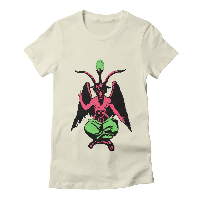 Blacklight Baphomet  Women's Fitted T-Shirt by Hate Baby Artist Shop