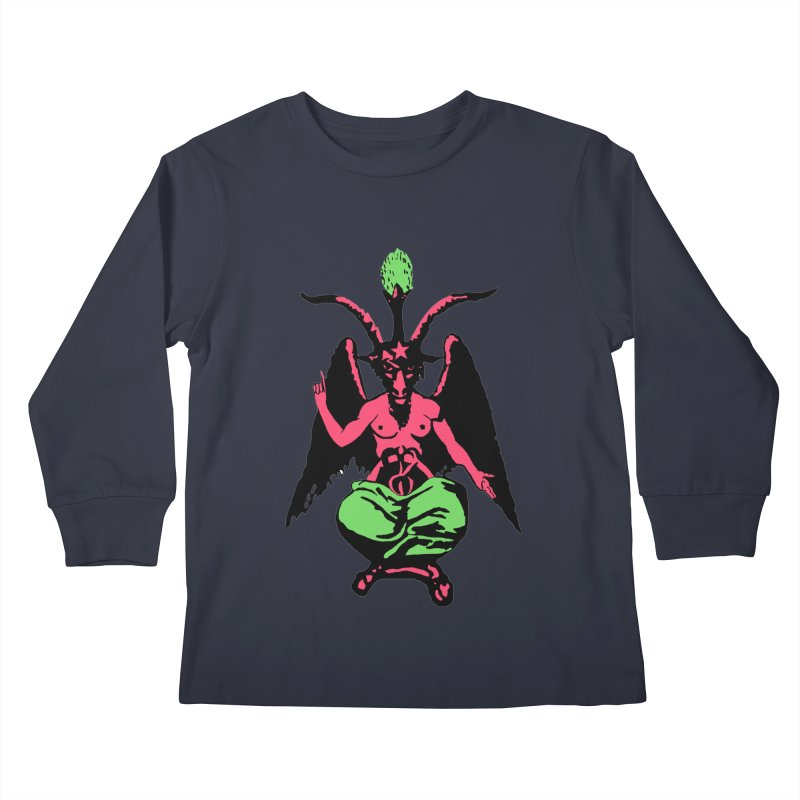 Blacklight Baphomet  Kids Longsleeve T-Shirt by Hate Baby Comix Artist Shop