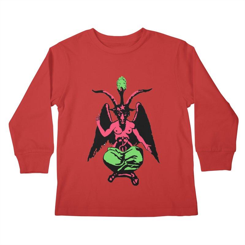 Blacklight Baphomet  Kids Longsleeve T-Shirt by Hate Baby Comix Artist Shop