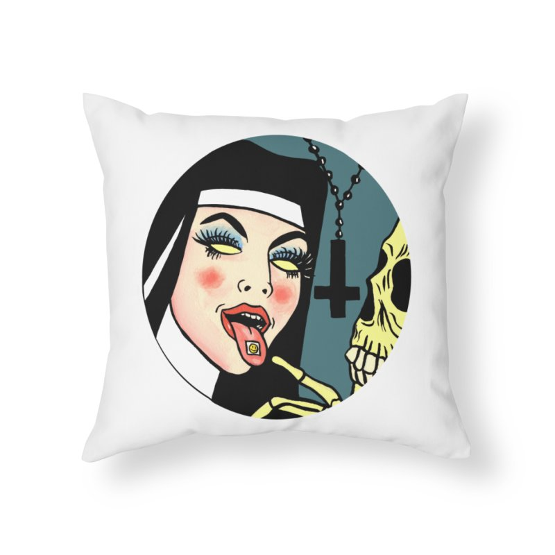 ACID NUN Home Throw Pillow by Hate Baby Comix Artist Shop