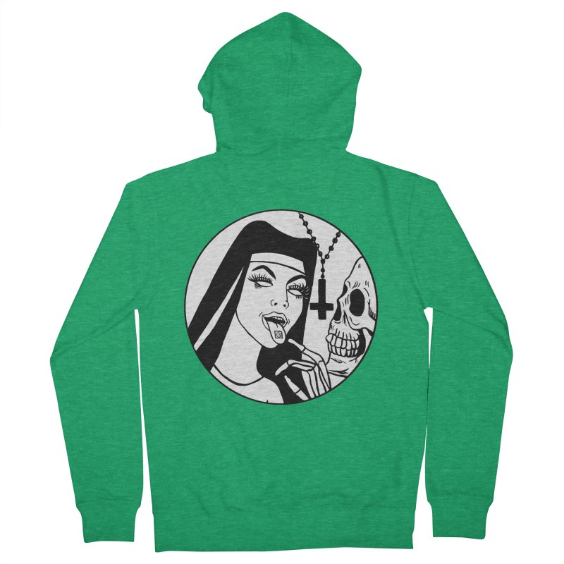 ACID NUN BLACK AND WHITE Women's Zip-Up Hoody by Hate Baby Comix Artist Shop