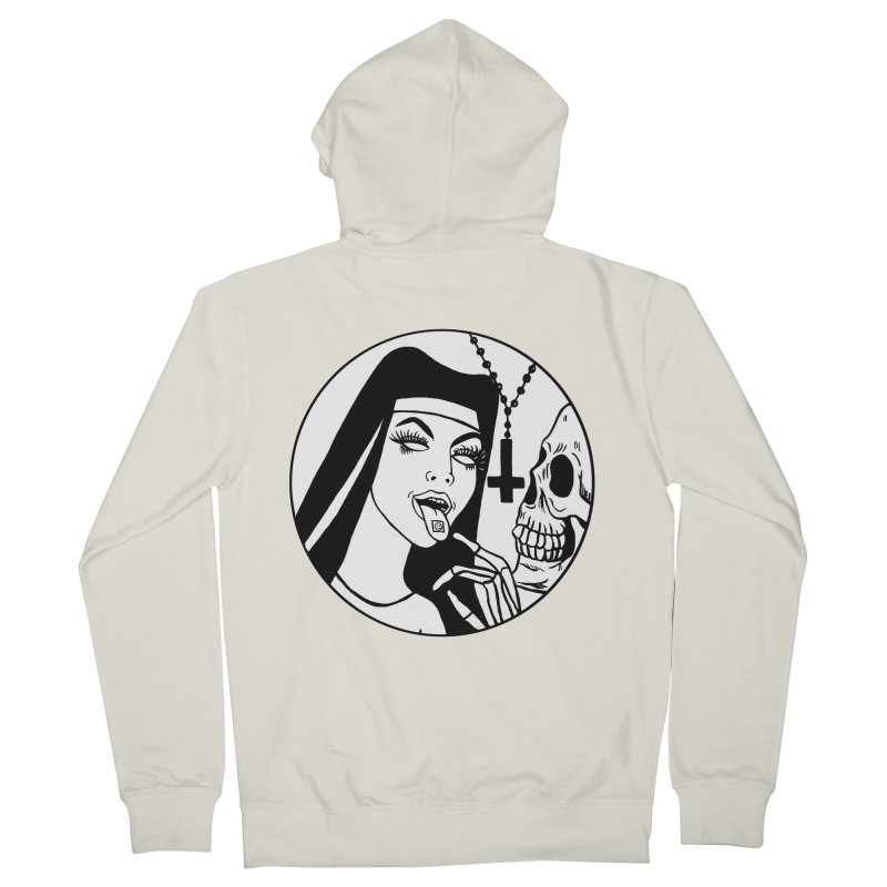 ACID NUN BLACK AND WHITE Men's French Terry Zip-Up Hoody by Hate Baby Comix Artist Shop