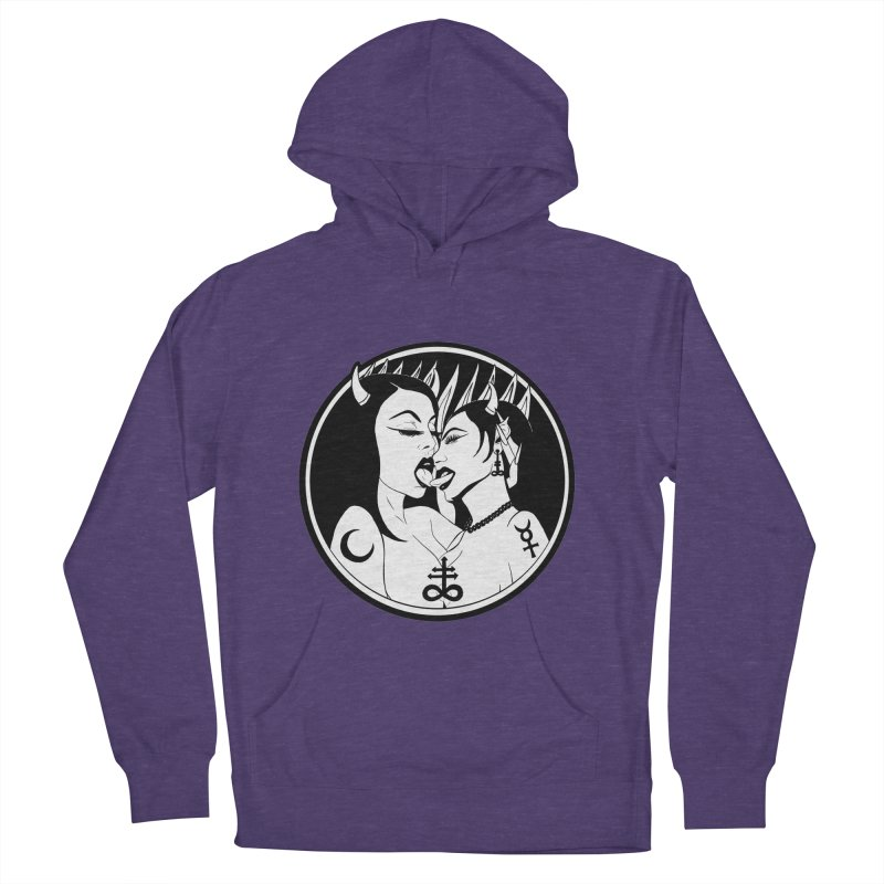 DEVILS KISS Women's French Terry Pullover Hoody by Hate Baby Comix Artist Shop