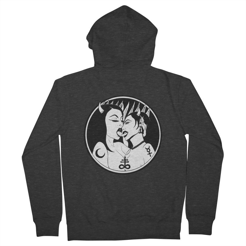 DEVILS KISS Women's French Terry Zip-Up Hoody by Hate Baby Comix Artist Shop