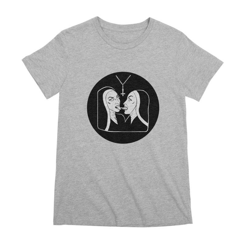 TONGUING NUNS CIRCLE Women's Premium T-Shirt by Hate Baby Comix Artist Shop