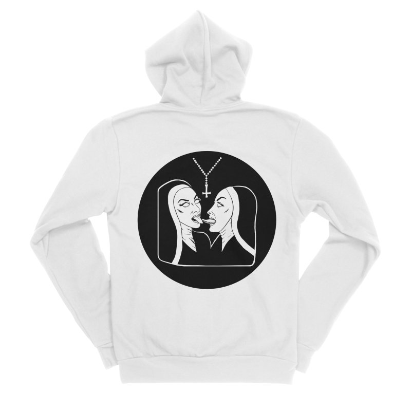 TONGUING NUNS CIRCLE Men's Sponge Fleece Zip-Up Hoody by Hate Baby Comix Artist Shop
